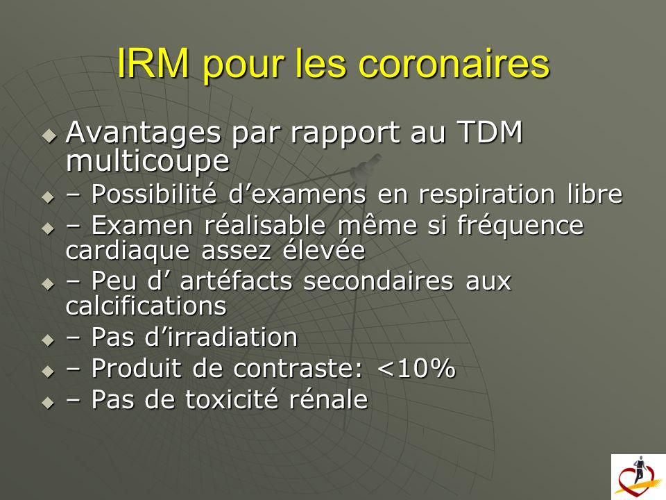 IRM pour les coronaires Avantages par rapport au TDM multicoupe Avantages par rapport au TDM multicoupe – Possibilité dexamens en respiration libre –