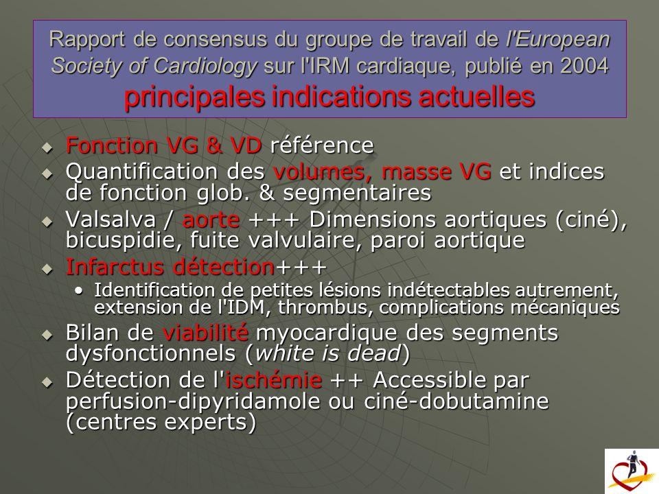 Fonction VG & VD référence Fonction VG & VD référence Quantification des volumes, masse VG et indices de fonction glob. & segmentaires Quantification