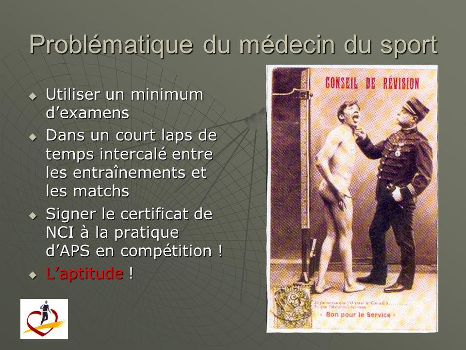 Problématique du médecin du sport Utiliser un minimum dexamens Utiliser un minimum dexamens Dans un court laps de temps intercalé entre les entraîneme