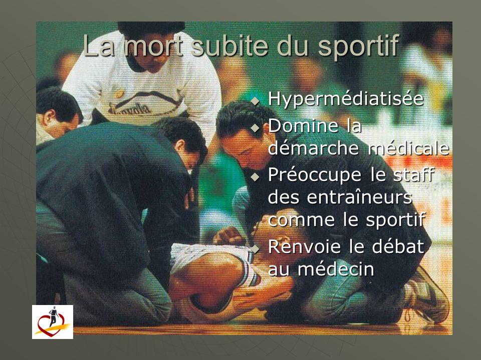 La mort subite du sportif Hypermédiatisée Hypermédiatisée Domine la démarche médicale Domine la démarche médicale Préoccupe le staff des entraîneurs c
