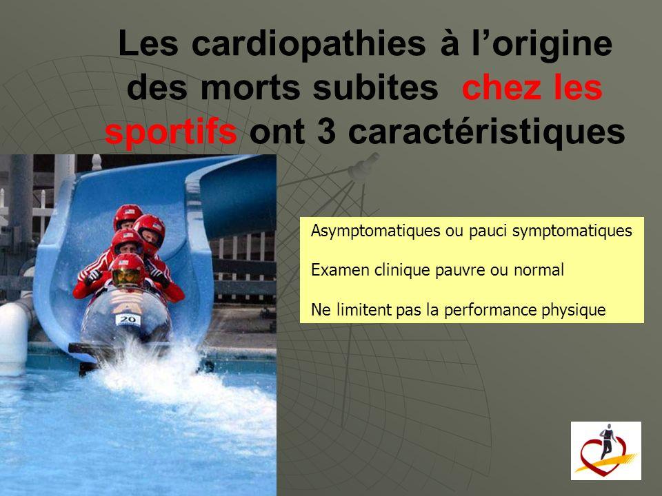 Les cardiopathies à lorigine des morts subites chez les sportifs ont 3 caractéristiques Asymptomatiques ou pauci symptomatiques Examen clinique pauvre
