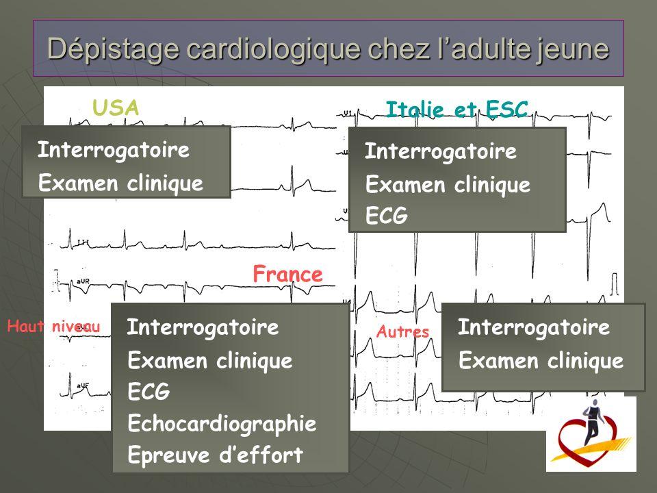 Dépistage cardiologique chez ladulte jeune USA Italie et ESC Interrogatoire Examen clinique ECG Echocardiographie Epreuve deffort France Haut niveau A