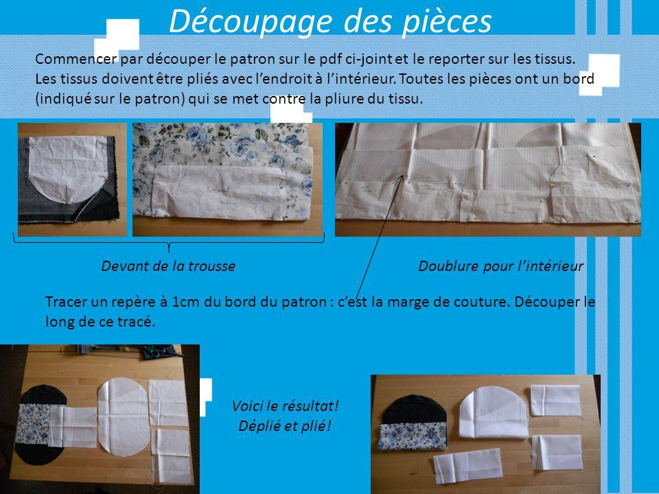 Découpage des pièces Commencer par découper le patron sur le pdf ci-joint et le reporter sur les tissus. Les tissus doivent être pliés avec lendroit à