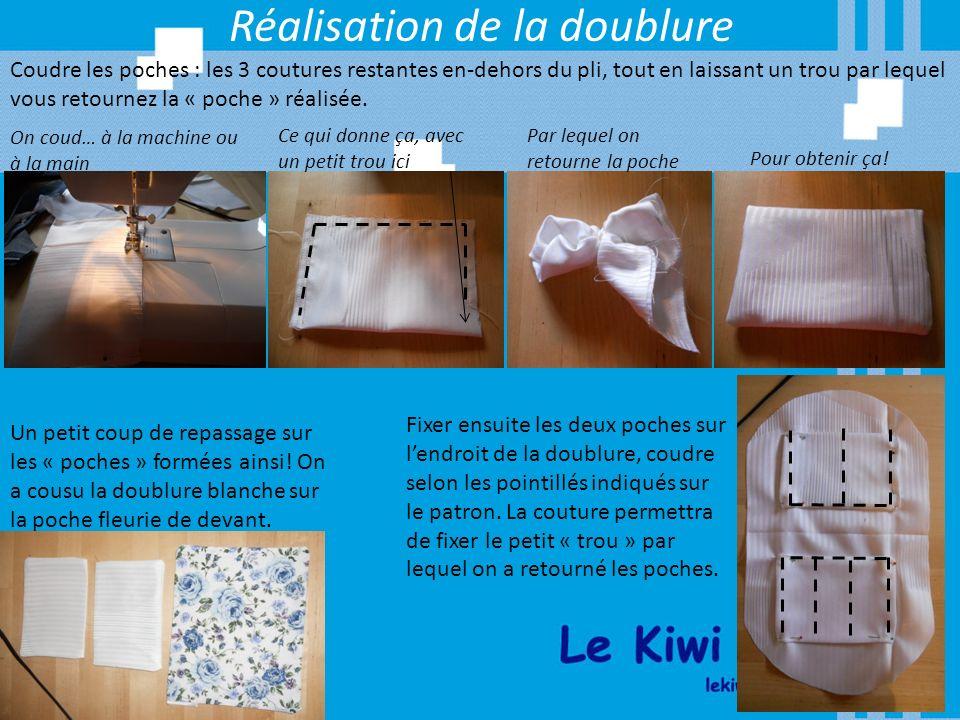 Réalisation de la doublure Coudre les poches : les 3 coutures restantes en-dehors du pli, tout en laissant un trou par lequel vous retournez la « poch