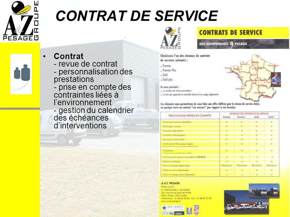 CONTRAT DE SERVICE Contrat - revue de contrat - personnalisation des prestations - prise en compte des contraintes liées à lenvironnement - gestion du calendrier des échéances dinterventions