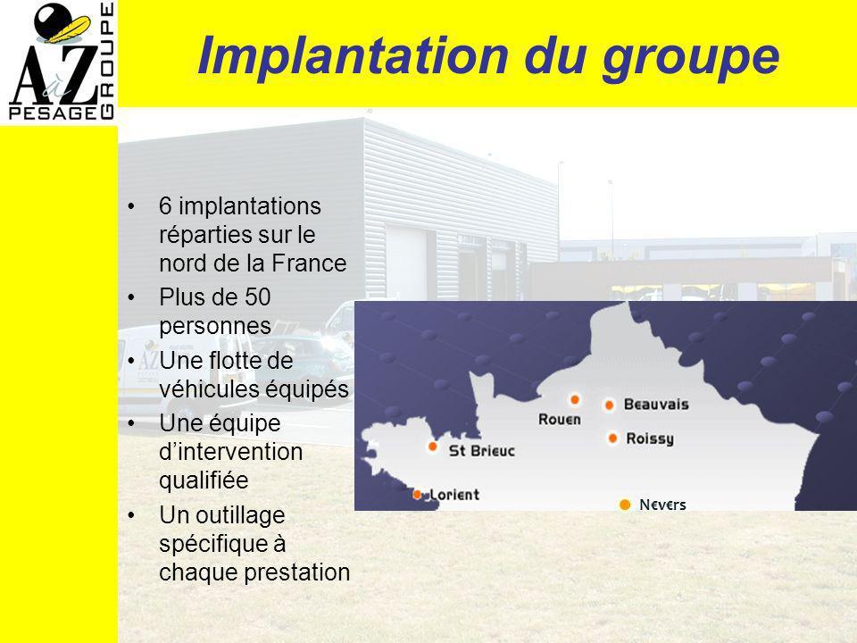 Implantation du groupe 6 implantations réparties sur le nord de la France Plus de 50 personnes Une flotte de véhicules équipés Une équipe dintervention qualifiée Un outillage spécifique à chaque prestation Nvrs