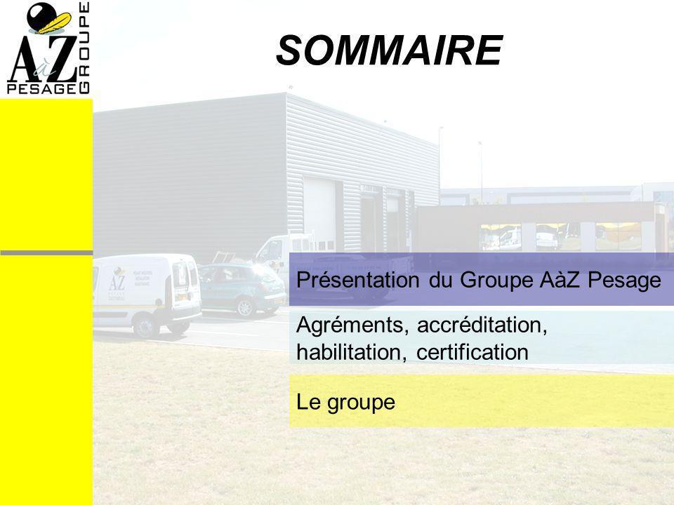 SOMMAIRE Présentation du Groupe AàZ Pesage Agréments, accréditation, habilitation, certification Le groupe