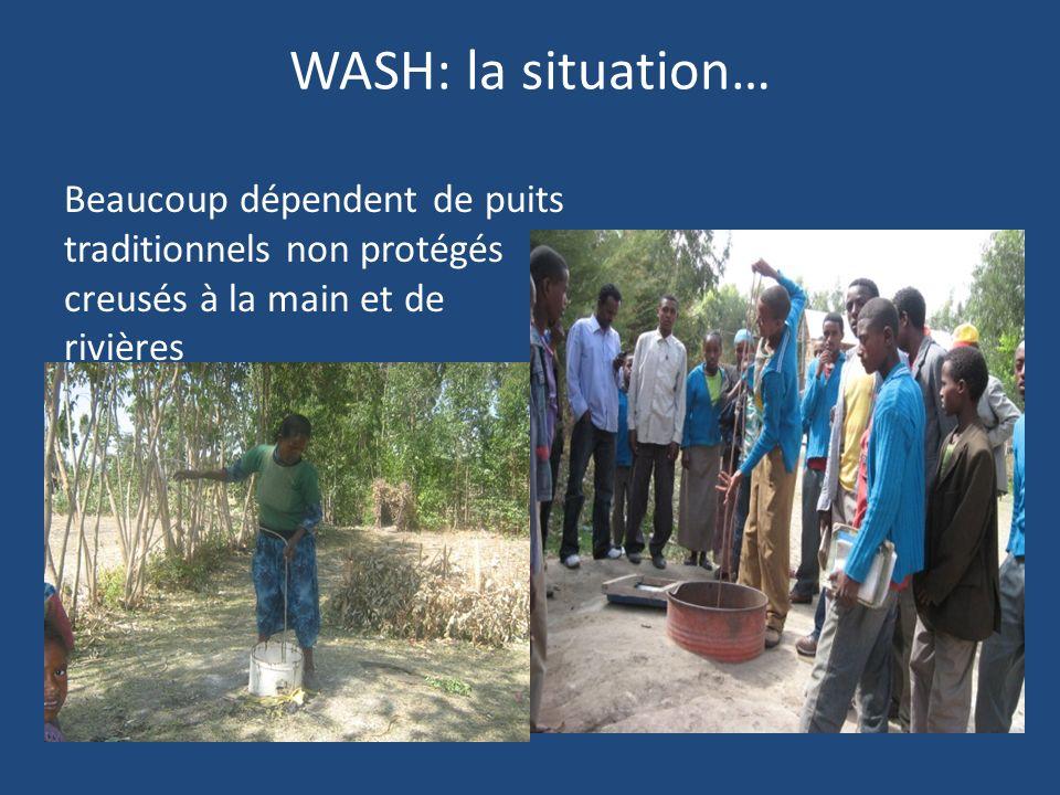 WASH: la situation… 60% aux structures sanitaires (27% en milieu urbain & 8% en milieu rural) Selon le rapport JMP de 2012, laccès à des installations sanitaires de qualité est de 21% (urbains=29%, ruraux =19%) Toilettes à lair libre: 46% (urbain/rural=9%/53%)