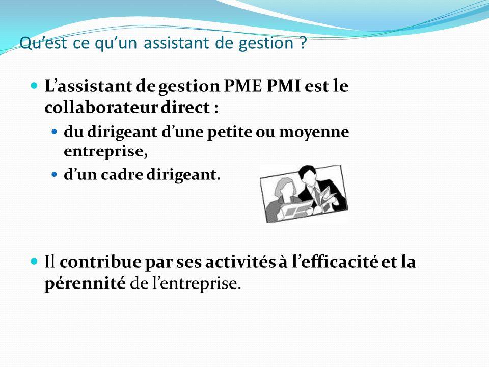 Quest ce quun assistant de gestion ? Lassistant de gestion PME PMI est le collaborateur direct : du dirigeant dune petite ou moyenne entreprise, dun c