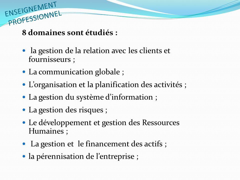 ENSEIGNEMENT PROFESSIONNEL 8 domaines sont étudiés : la gestion de la relation avec les clients et fournisseurs ; La communication globale ; Lorganisa