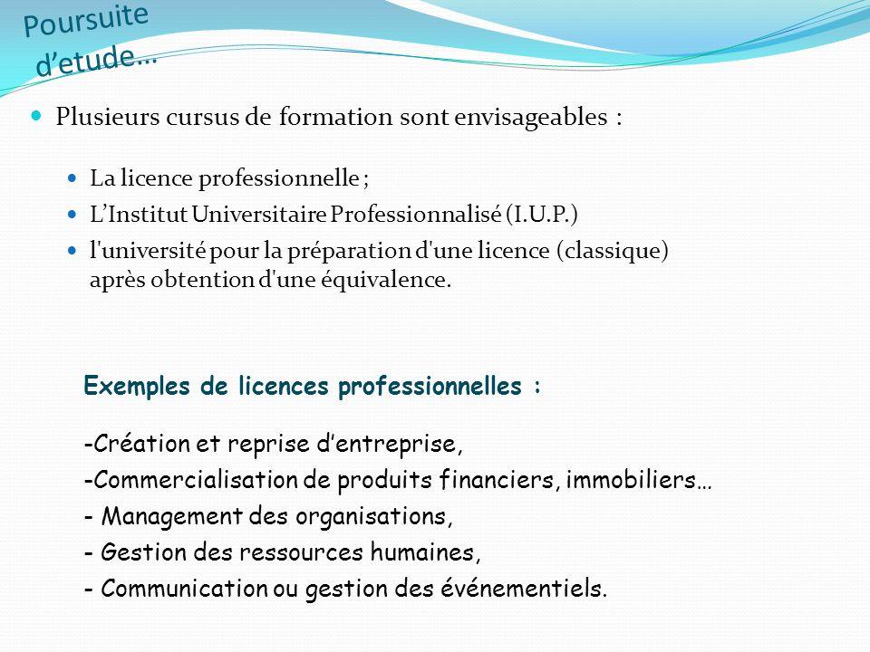 Poursuite detude… Plusieurs cursus de formation sont envisageables : La licence professionnelle ; LInstitut Universitaire Professionnalisé (I.U.P.) l'