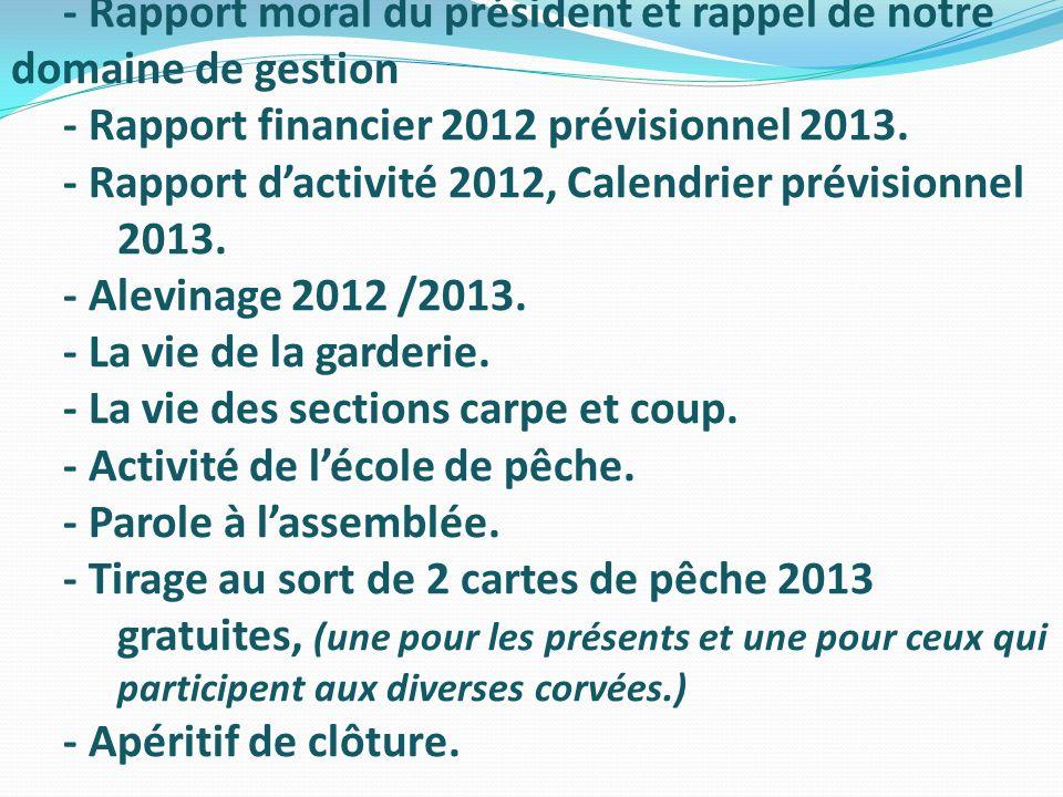 - Rapport moral du président et rappel de notre domaine de gestion - Rapport financier 2012 prévisionnel 2013. - Rapport dactivité 2012, Calendrier pr