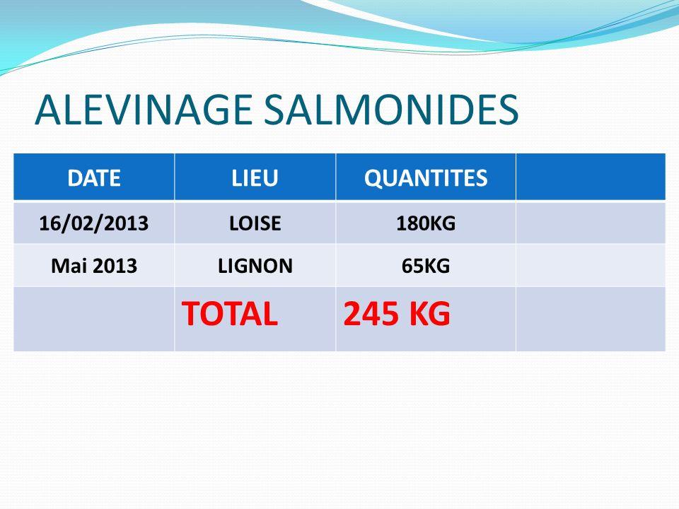 ALEVINAGE SALMONIDES DATELIEUQUANTITES 16/02/2013LOISE180KG Mai 2013LIGNON65KG TOTAL245 KG