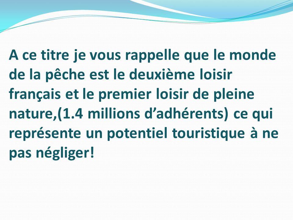 A ce titre je vous rappelle que le monde de la pêche est le deuxième loisir français et le premier loisir de pleine nature,(1.4 millions dadhérents) c