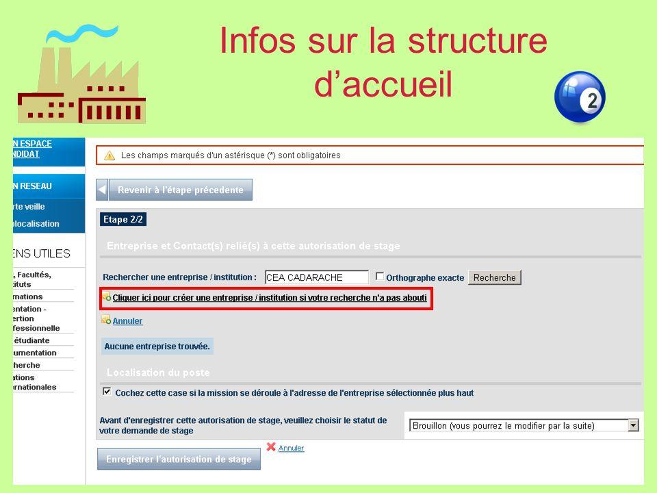 Infos sur la structure daccueil