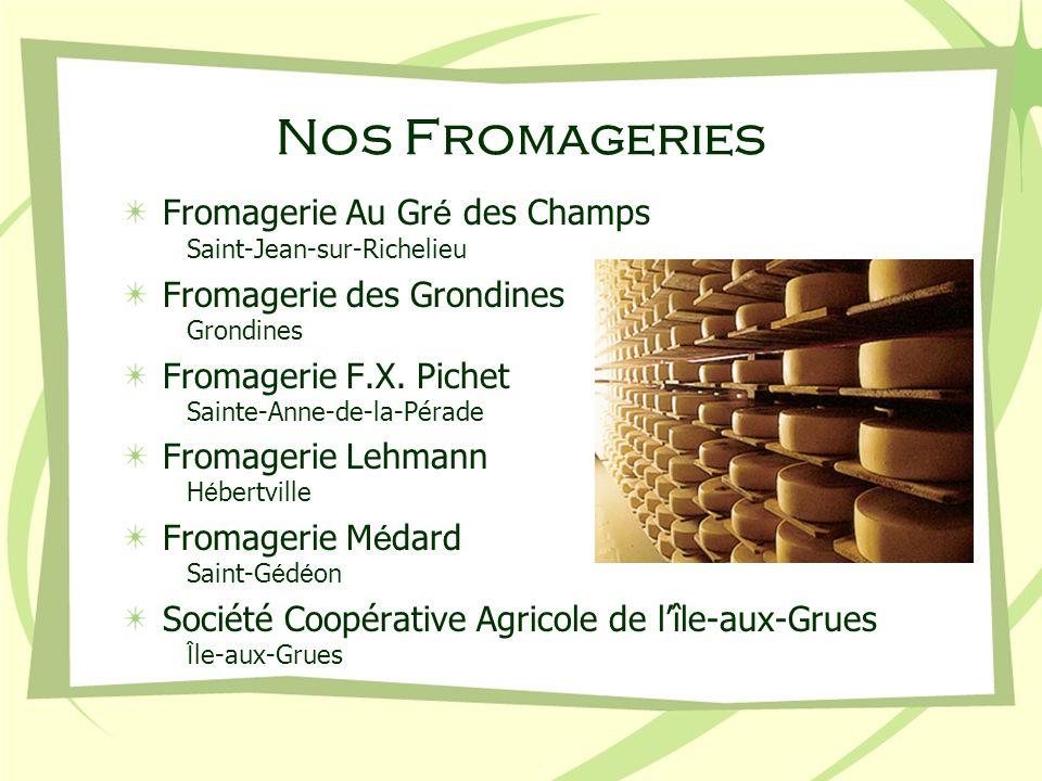 Nos Fromageries Fromagerie Au Gr é des Champs Saint-Jean-sur-Richelieu Fromagerie des Grondines Grondines Fromagerie F.X. Pichet Sainte-Anne-de-la-Pér