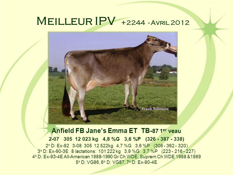 Meilleur IPV +2244 - Avril 2012 Anfield FB Janes Emma ET TB- 87 1 er veau 2-07 305 12 023 kg 4,8 %G 3,6 %P (326 - 387 - 338) 2 e D: Ex-92 3-08 305 12