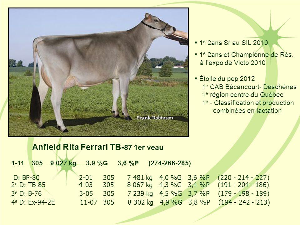 Anfield Rita Ferrari TB- 87 1er veau 1 e 2ans Sr au SIL 2010 1 e 2ans et Championne de Rés. à lexpo de Victo 2010 Étoile du pep 2012 1 e CAB Bécancour