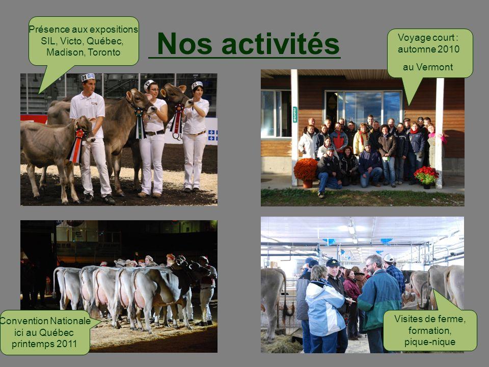 Nos activités Voyage court : automne 2010 au Vermont Présence aux expositions SIL, Victo, Québec, Madison, Toronto Visites de ferme, formation, pique-
