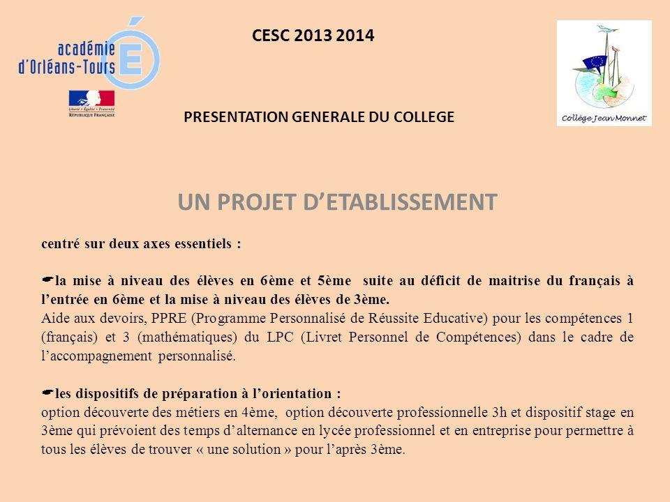 CESC 2013 2014 UN PROJET DETABLISSEMENT centré sur deux axes essentiels : la mise à niveau des élèves en 6ème et 5ème suite au déficit de maitrise du français à lentrée en 6ème et la mise à niveau des élèves de 3ème.