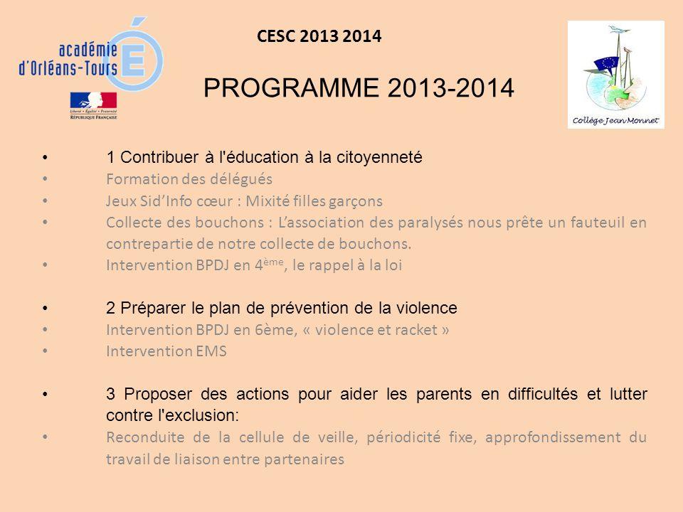 CESC 2013 2014 4 Définir un programme d éducation à la santé et à la sexualité et de prévention des conduites addictives.