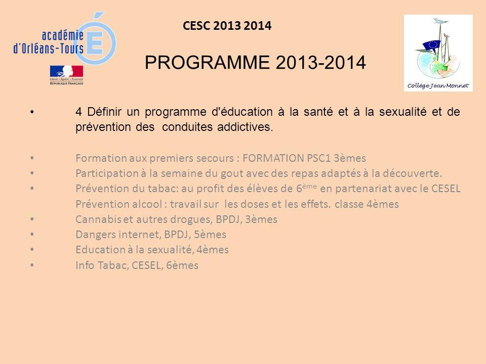 CESC 2013 2014 LES PROJETS 2013-2014 Amorcer un travail de réflexion sur le lien entre « malbouffe », absence dactivité sportive et obésité.