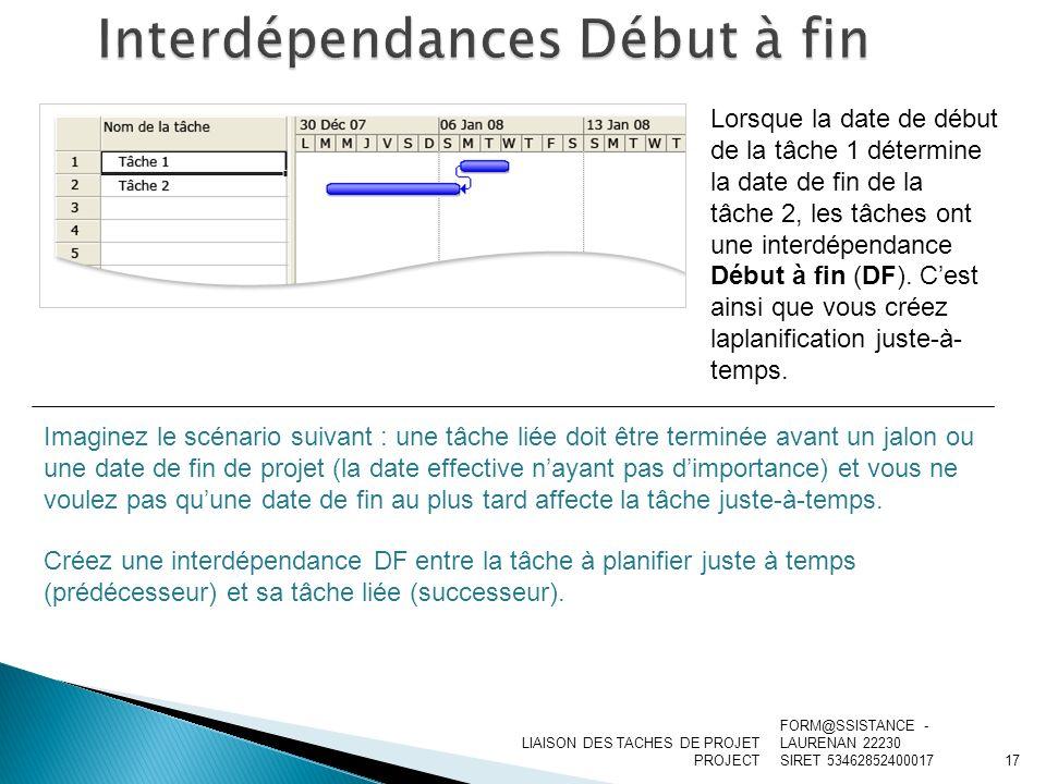 LIAISON DES TACHES DE PROJET PROJECT Lorsque la date de début de la tâche 1 détermine la date de fin de la tâche 2, les tâches ont une interdépendance