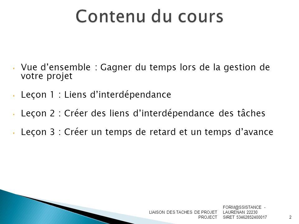 Vue densemble : Gagner du temps lors de la gestion de votre projet Leçon 1 : Liens dinterdépendance Leçon 2 : Créer des liens dinterdépendance des tâc