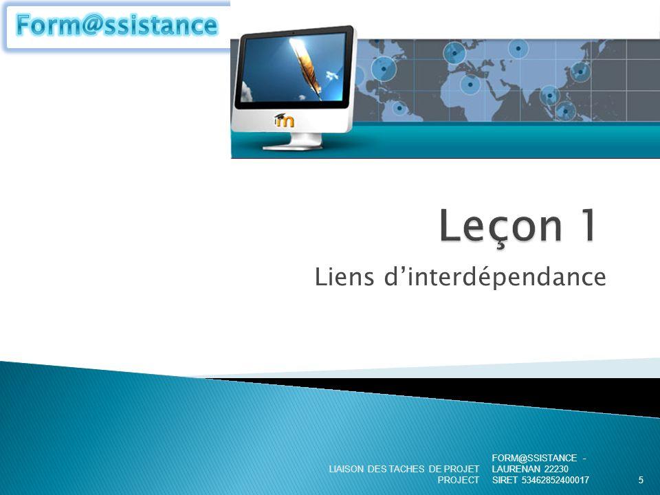 Liens dinterdépendance FORM@SSISTANCE - LAURENAN 22230 SIRET 53462852400017 LIAISON DES TACHES DE PROJET PROJECT5