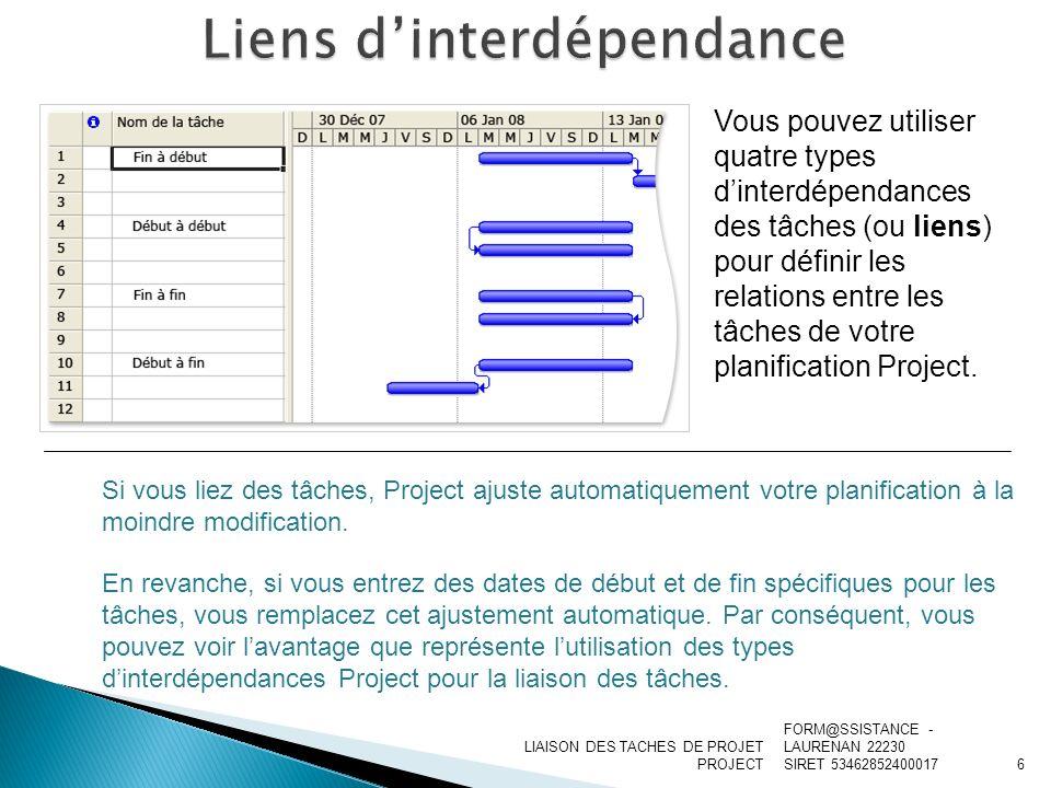 LIAISON DES TACHES DE PROJET PROJECT Lorsque la date de début de la tâche 1 détermine la date de fin de la tâche 2, les tâches ont une interdépendance Début à fin (DF).