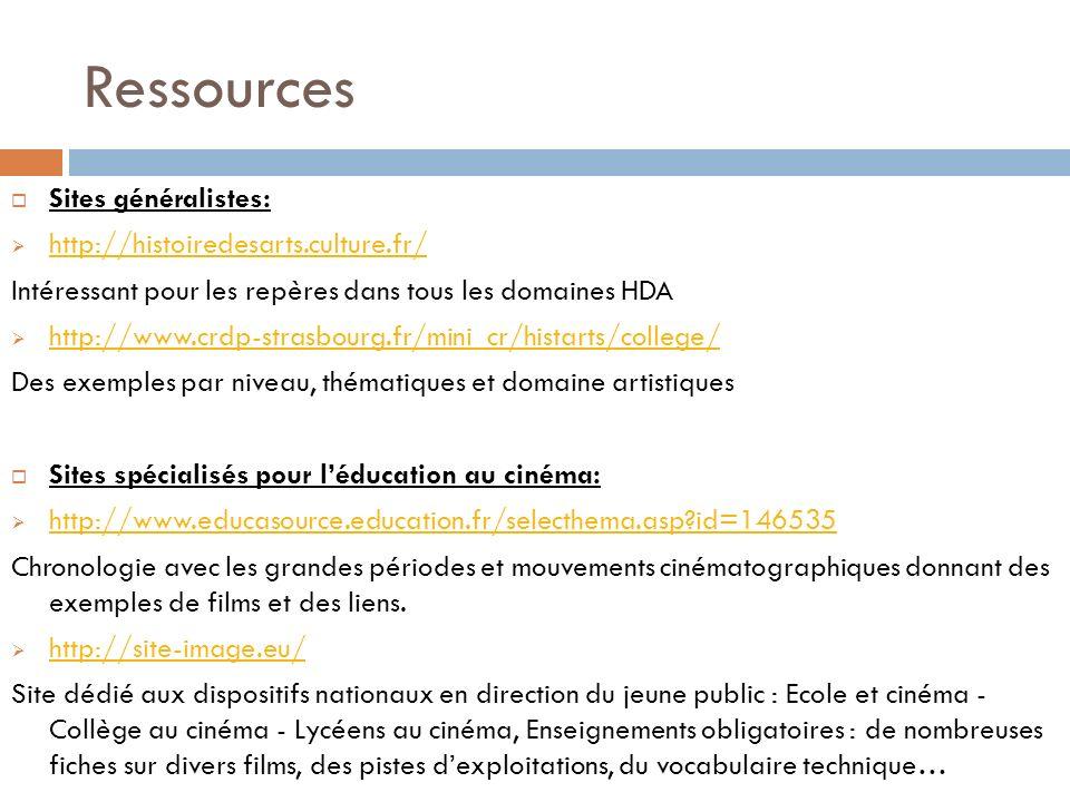 Ressources Sites généralistes: http://histoiredesarts.culture.fr/ Intéressant pour les repères dans tous les domaines HDA http://www.crdp-strasbourg.f
