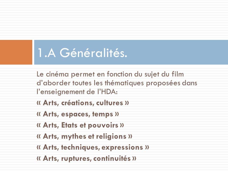 Le cinéma permet en fonction du sujet du film daborder toutes les thématiques proposées dans lenseignement de lHDA: « Arts, créations, cultures » « Ar