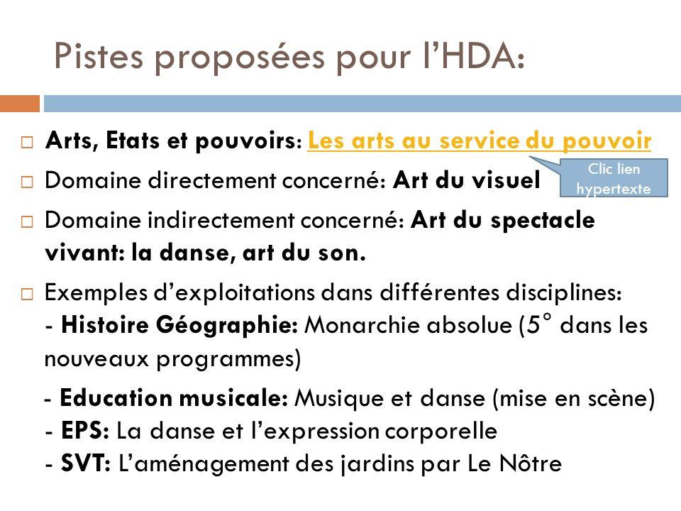 Pistes proposées pour lHDA: Arts, Etats et pouvoirs: Les arts au service du pouvoirLes arts au service du pouvoir Domaine directement concerné: Art du