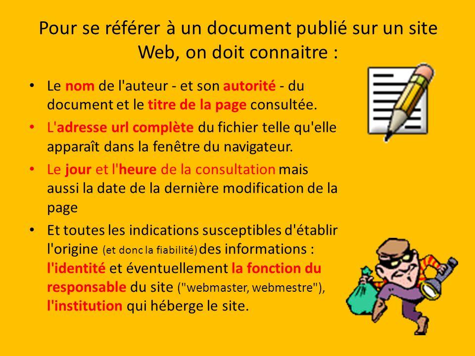Pour se référer à un document publié sur un site Web, on doit connaitre : Le nom de l'auteur - et son autorité - du document et le titre de la page co