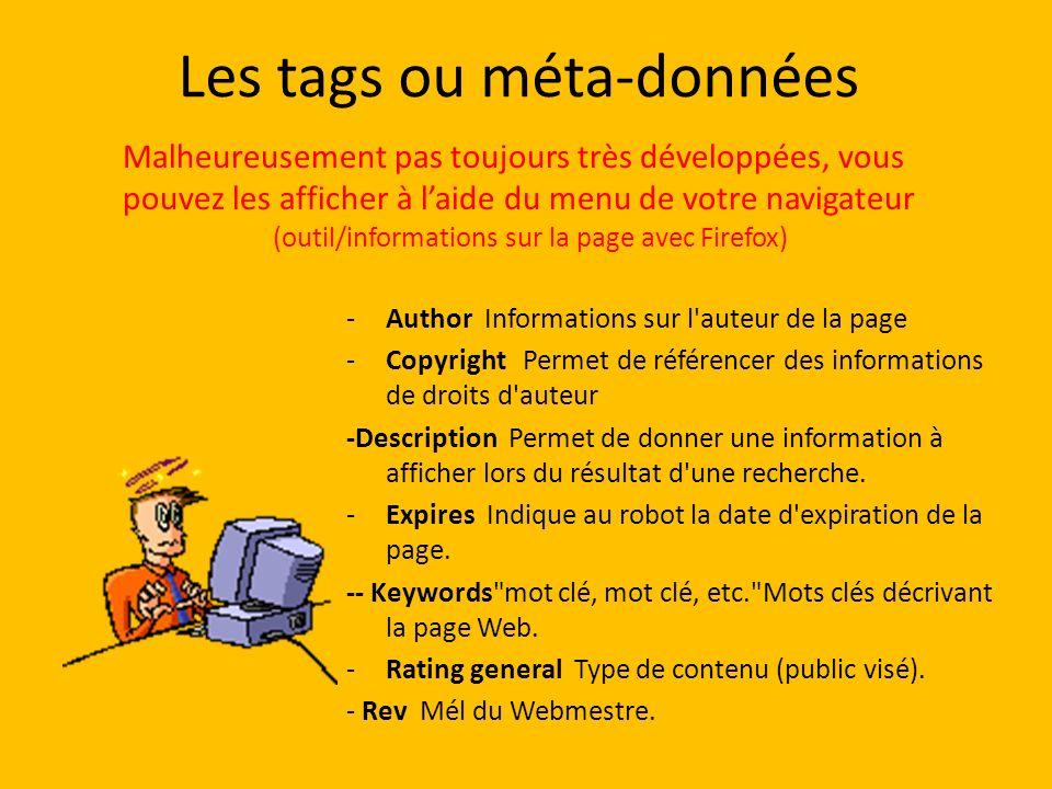 Les tags ou méta-données -Author Informations sur l'auteur de la page -Copyright Permet de référencer des informations de droits d'auteur -Description