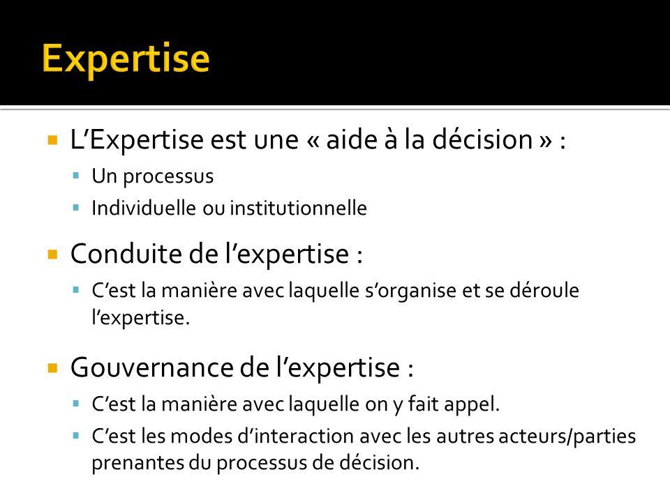 LExpertise est une « aide à la décision » : Un processus Individuelle ou institutionnelle Conduite de lexpertise : Cest la manière avec laquelle sorga