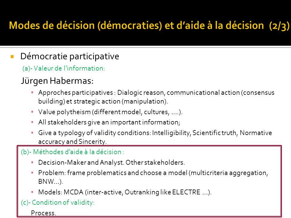 Démocratie participative (a)- Valeur de linformation: Jürgen Habermas: Approches participatives : Dialogic reason, communicational action (consensus b