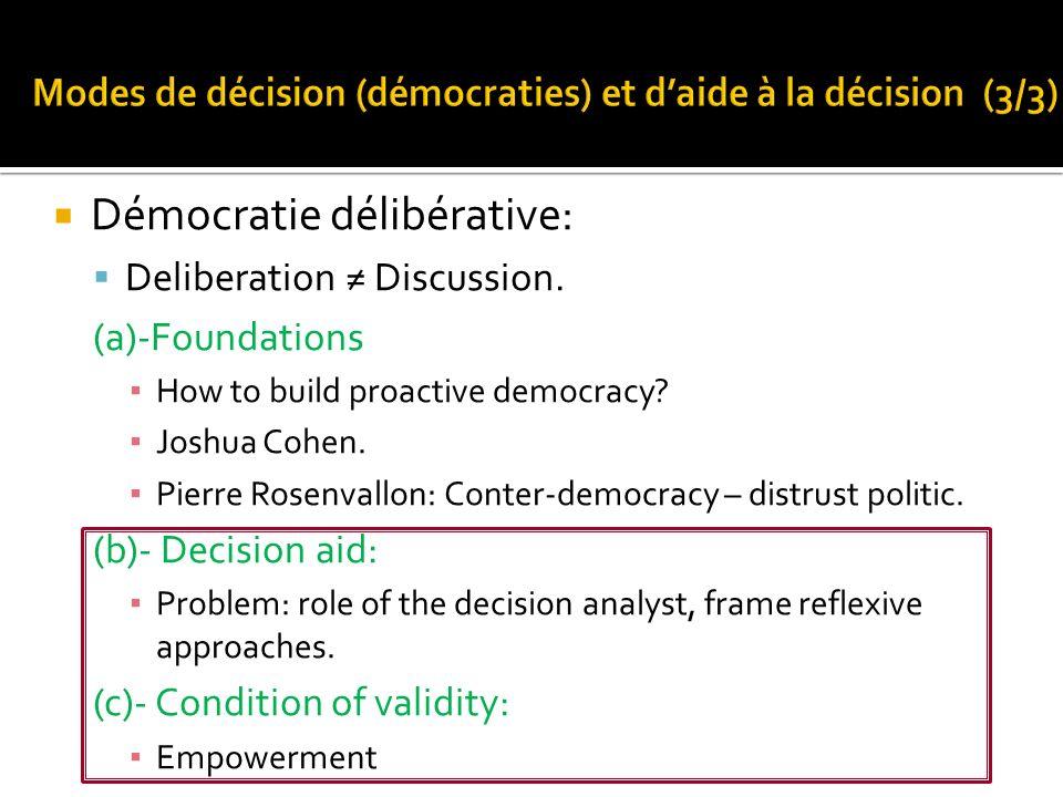 Démocratie délibérative: Deliberation Discussion. (a)-Foundations How to build proactive democracy? Joshua Cohen. Pierre Rosenvallon: Conter-democracy