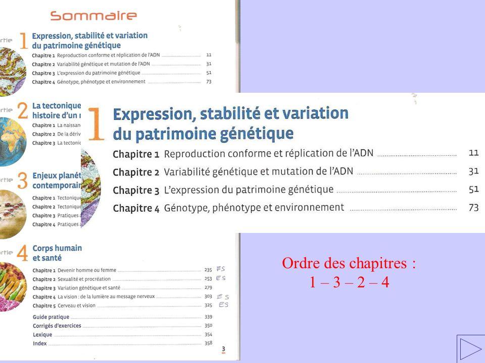 Ordre des chapitres : 1 – 3 – 2 – 4
