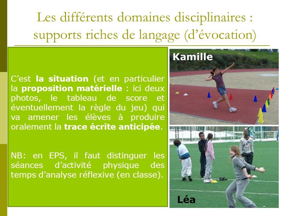 Les différents domaines disciplinaires : supports riches de langage (dévocation) Kamille Léa Kamille 78876 Paul 45343 Moad 6X65X Léa X4XX3 Emma 88877