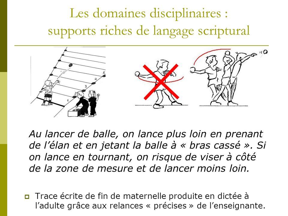Les domaines disciplinaires : supports riches de langage scriptural Trace écrite de fin de maternelle produite en dictée à ladulte grâce aux relances