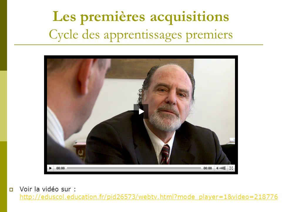 Les premières acquisitions Cycle des apprentissages premiers Voir la vidéo sur : http://eduscol.education.fr/pid26573/webtv.html?mode_player=1&video=2