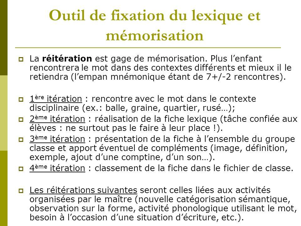 Outil de fixation du lexique et mémorisation La réitération est gage de mémorisation. Plus lenfant rencontrera le mot dans des contextes différents et