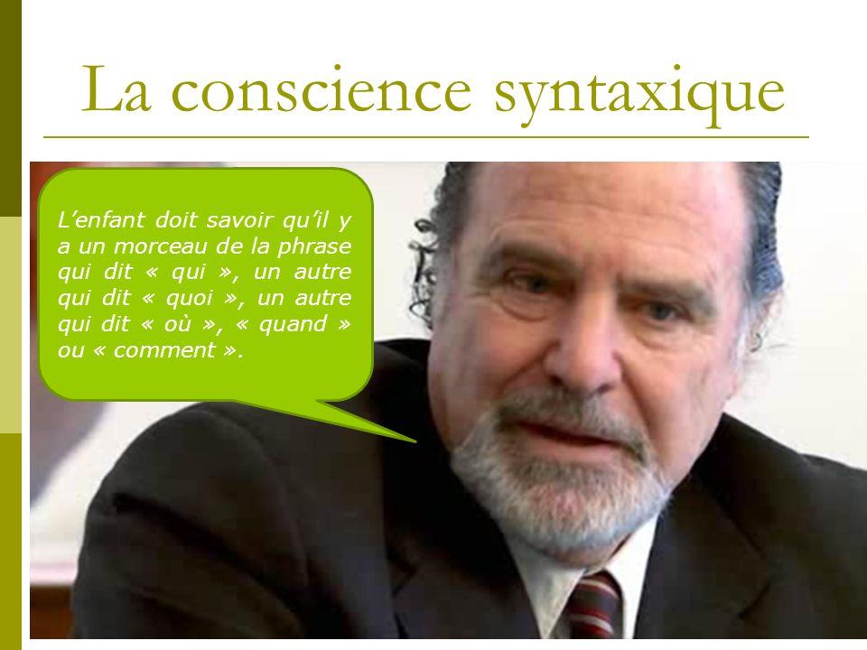 La conscience syntaxique Lenfant doit savoir quil y a un morceau de la phrase qui dit « qui », un autre qui dit « quoi », un autre qui dit « où », « q