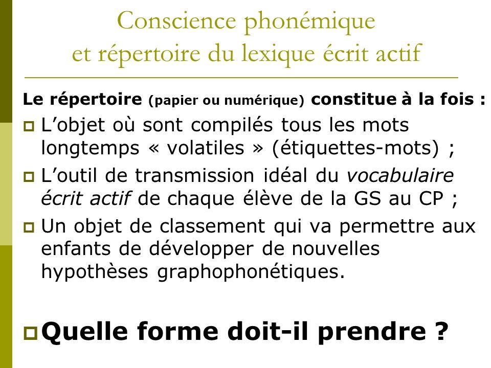 Conscience phonémique et répertoire du lexique écrit actif Le répertoire (papier ou numérique) constitue à la fois : Lobjet où sont compilés tous les