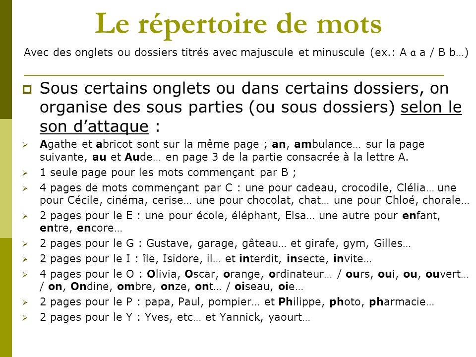 Le répertoire de mots Avec des onglets ou dossiers titrés avec majuscule et minuscule (ex.: A a a / B b…) Sous certains onglets ou dans certains dossi