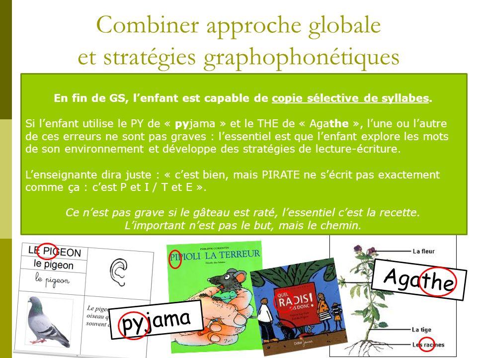 Combiner approche globale et stratégies graphophonétiques Agathe pyjama En fin de GS, lenfant est capable de copie sélective de syllabes. Si lenfant u