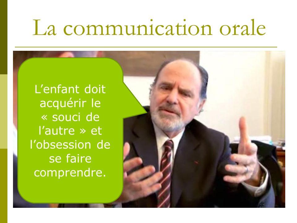 La communication orale Lenfant doit acquérir le « souci de lautre » et lobsession de se faire comprendre.