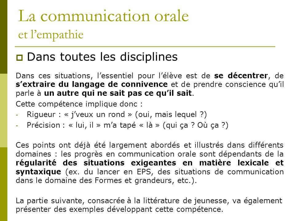 La communication orale et lempathie Dans toutes les disciplines Dans ces situations, lessentiel pour lélève est de se décentrer, de sextraire du langa