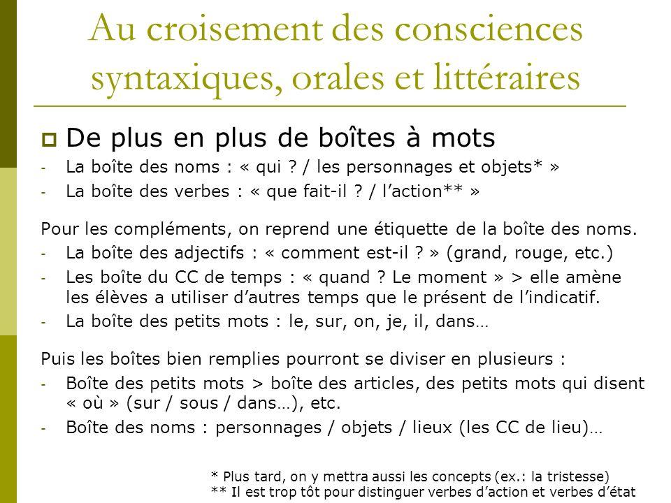 Au croisement des consciences syntaxiques, orales et littéraires De plus en plus de boîtes à mots - La boîte des noms : « qui ? / les personnages et o